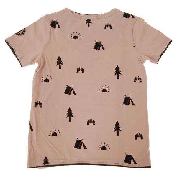 tan boys tee with black tents, pine trees, and suns