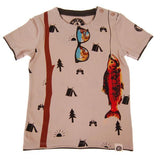 Tan boys tee with fishing pole and fish graphic