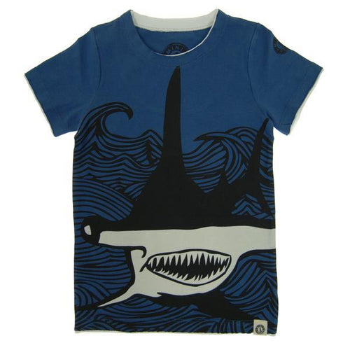Navy blue boys tee with hammerhead shark graphic | Cool Boys Clothing