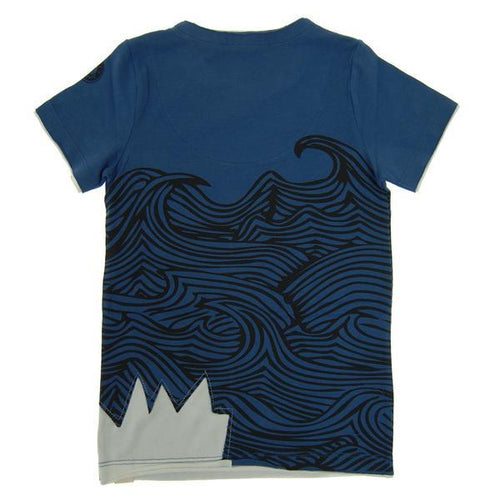 Back of navy blue boys tee shirt with wave graphic