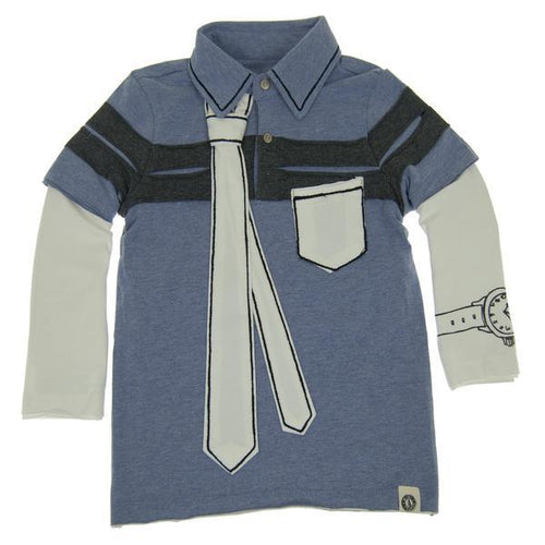 Mini Shatsu boys blue polo with faux tie and watch and long sleeves