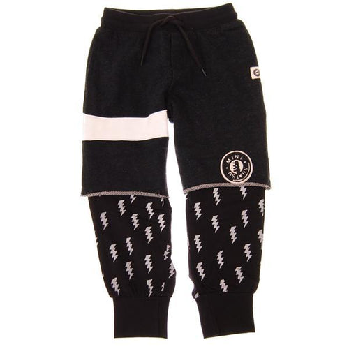 Mini Shatsu boys black shorts over black lightning pants
