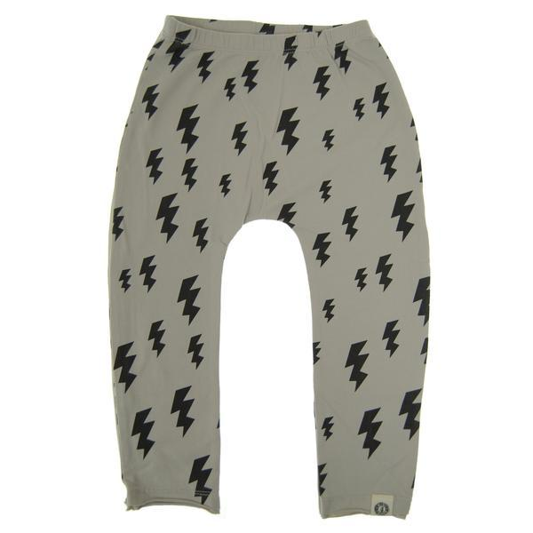 Grey baby boy pants with black lightening bolt print