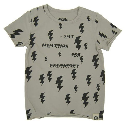 "grey tee with lightning bolts and ""eat lightning for breakfast"""