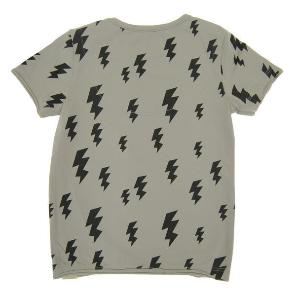 back of grey boys tee with black lightning bolts