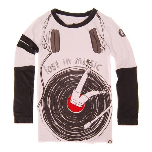 Mini Shatsu boys graphic t shirt with printed record player
