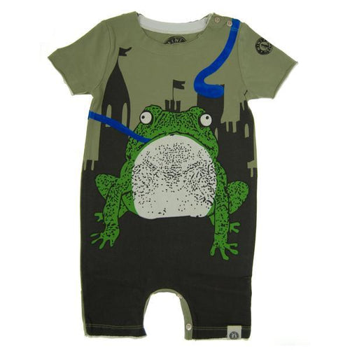Short sleeve baby boy romper with printed frog in front of castle