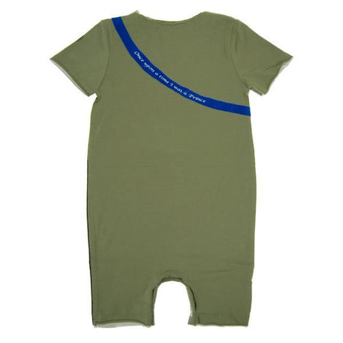back of romper with blue line