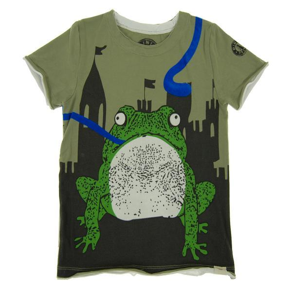 Green tee with frog and castle graphic
