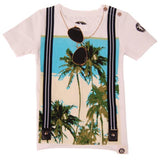 Palm tee image tee with faux suspenders and sunglasses