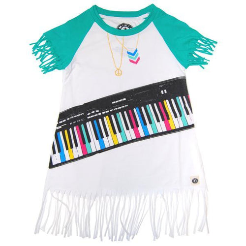 Colorful piano keyboard across dress with teal short fringe sleeves