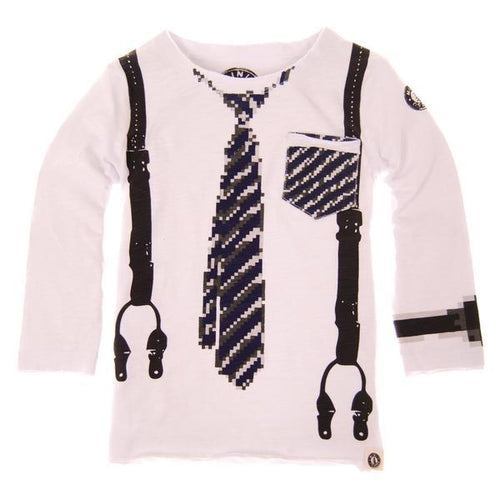 Mini Shatsu boys white tee printed tie and suspenders