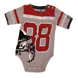 Baby bodysuit that looks like football jersey with helmet