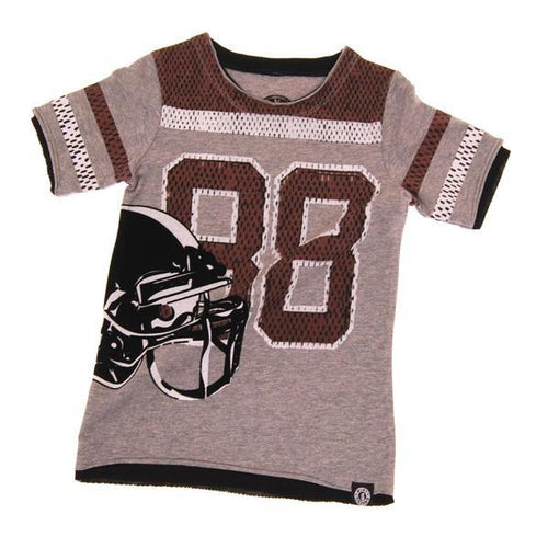 Faux football jersey with football helmet graphic