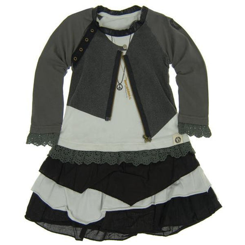 Mini Shatsu girls leather jacket over layered dress
