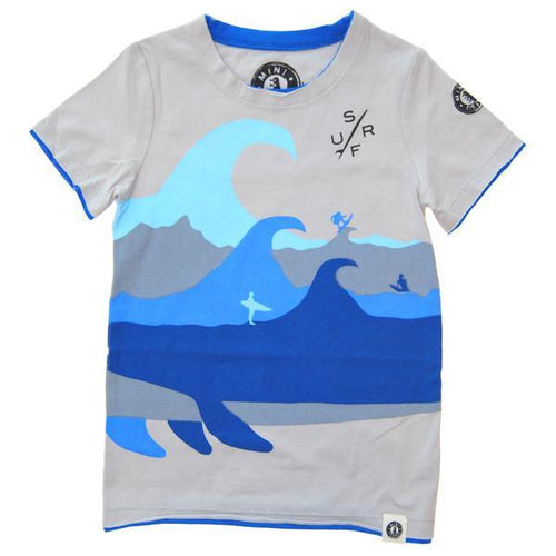 Grey tee with three blue fins and wave graphic
