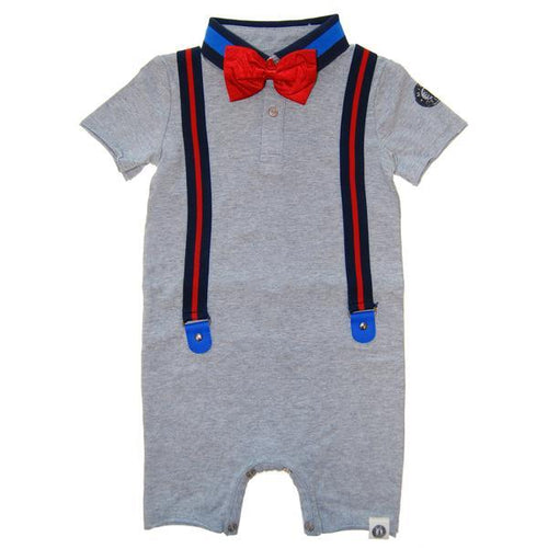 grey baby romper with faux suspenders
