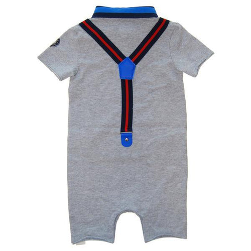 back of grey baby romper with faux suspenders