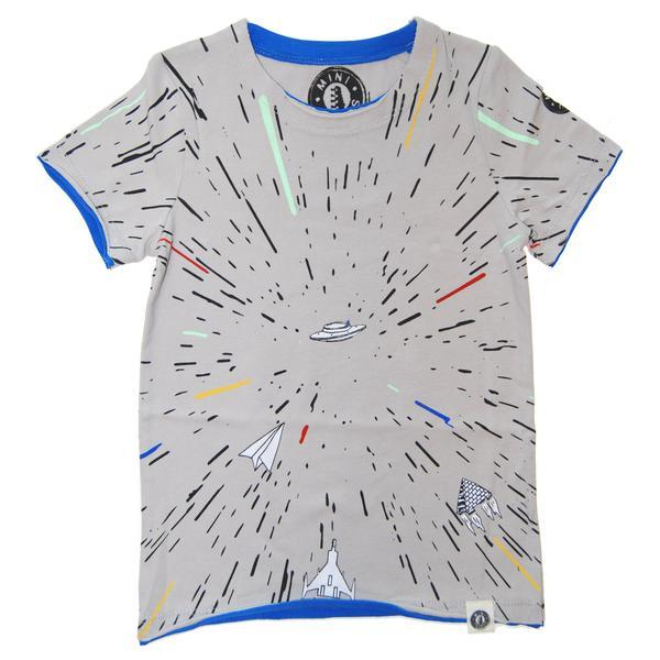 Grey tee with colorful space travel graphics | Cool boys t shirts