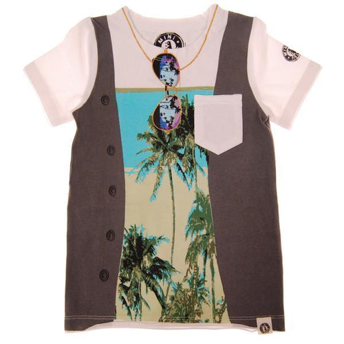 Palm tree print tee with a faux vest and sunglasses graphic