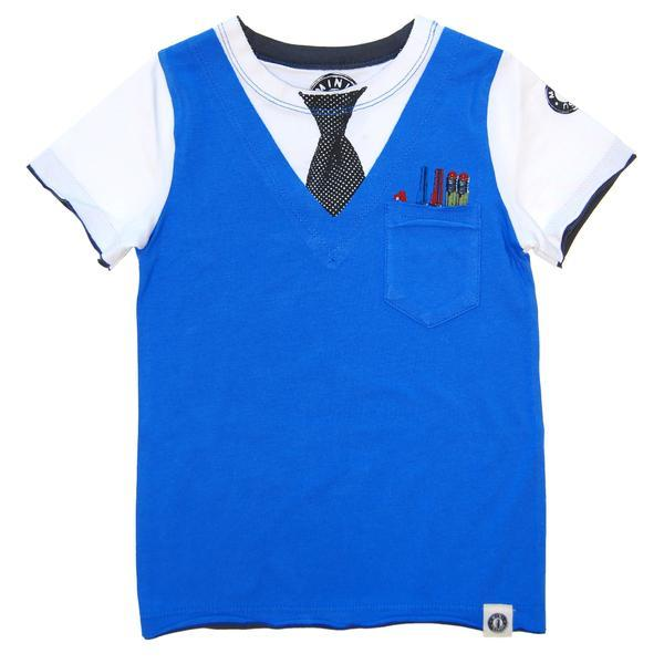 White short sleeve boys tee with printed vest and tie