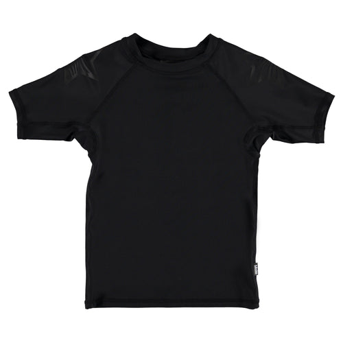 Molo Kids solid black short sleeve boys rash guard