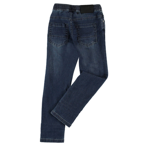 Molo blue denim elastic waist boys pants