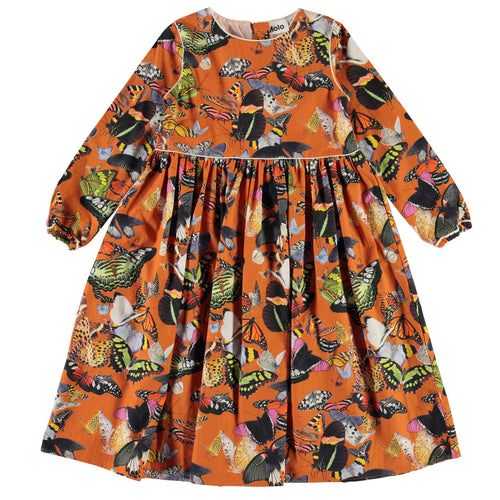 Molo orange butterfly print girls poplin dress