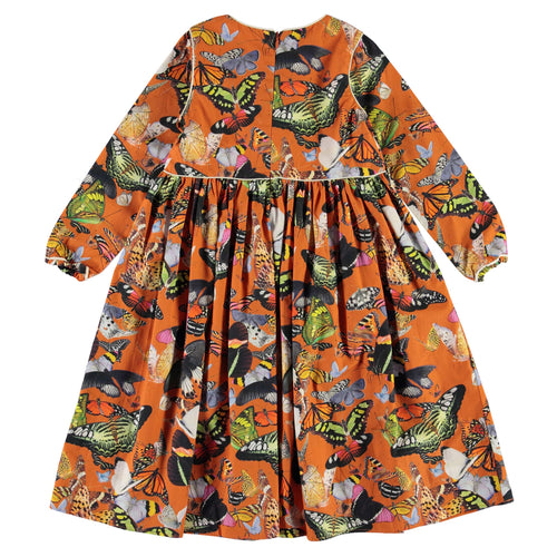 Molo orange butterfly print girls dress