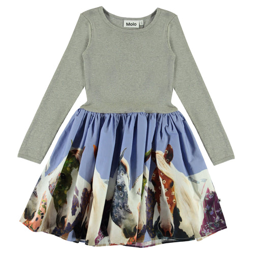 Molo long sleeve horse print girls dress