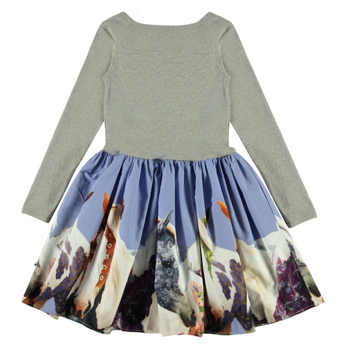 Molo long sleeve horse photorealistic print girls dress