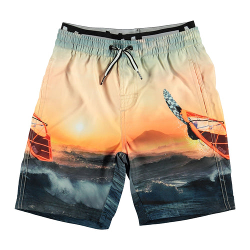 Molo Kids sunset ocean print boys board shorts