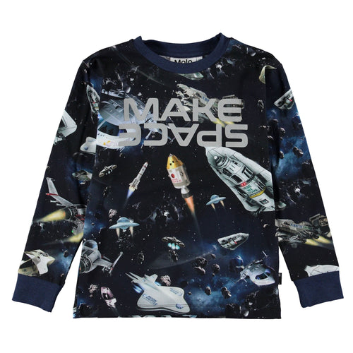 Molo kids space print long sleeve boys t-shirt