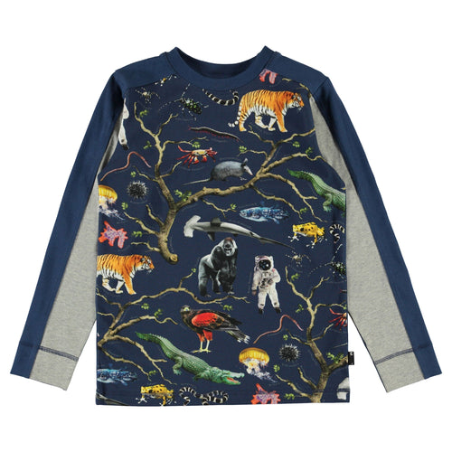 Molo navy blue animal print long sleeve boys tee