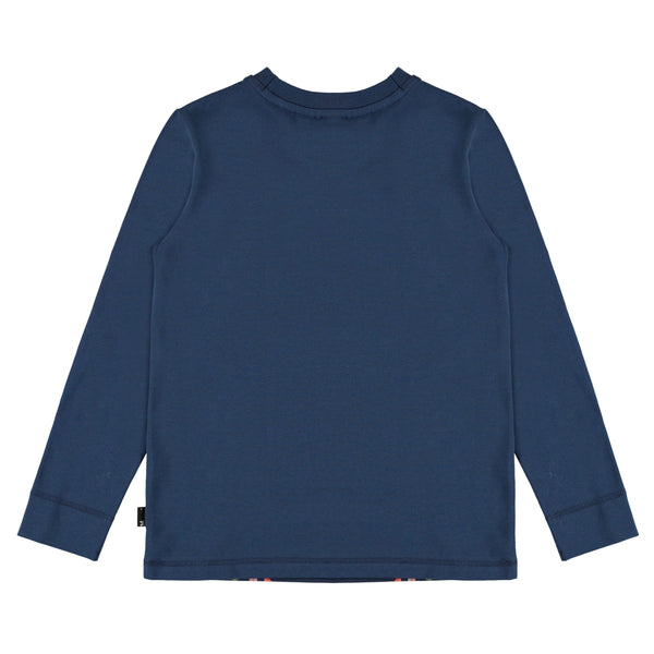 Molo navy blue animal print long sleeve boys top