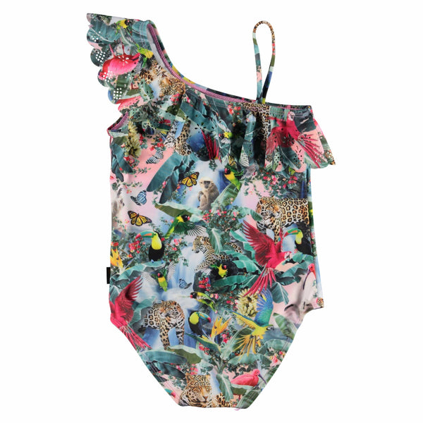 Molo jungle print ruffle one piece girls swimsuit