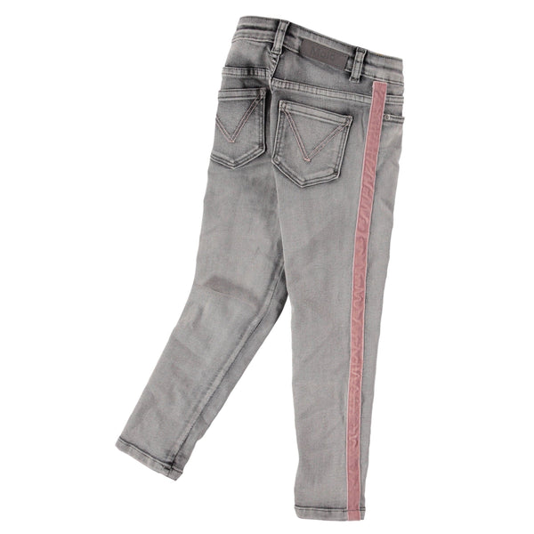 Molo kids grey with pink stripe skinny girls jeans