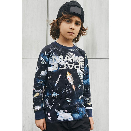 Molo kids space print long sleeve boys graphic tee