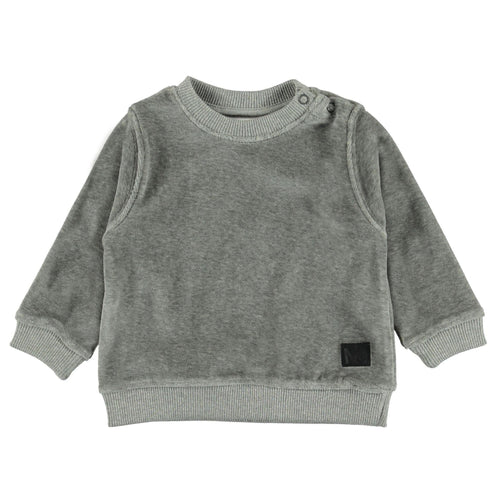 Molo grey velour baby boy sweatshirt