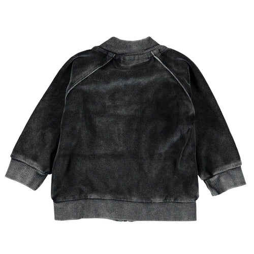 Molo zip front black distressed baby boy sweatshirt