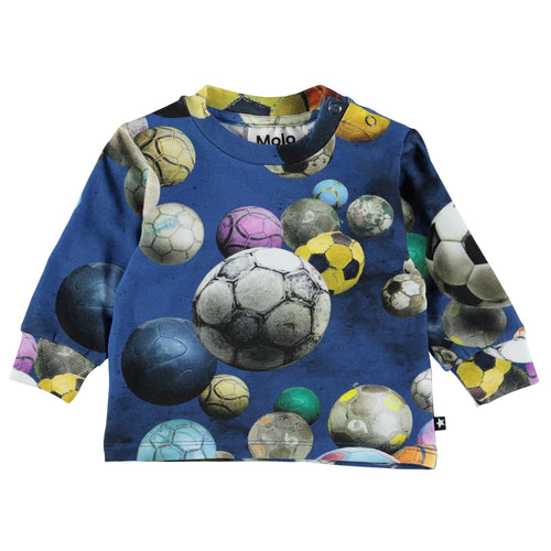 Molo kids long sleeve soccer print baby boy t shirt