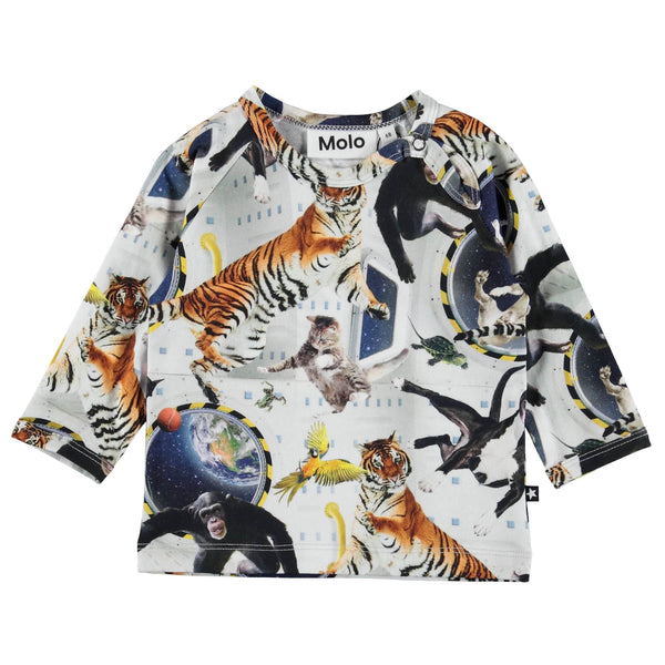 Molo Kids animal print space baby boy tee