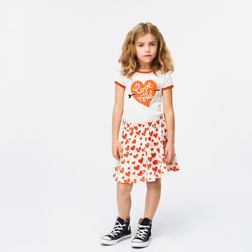 Molo kids heart print knit girls skirt