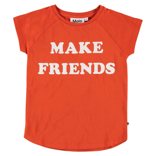 Molo kids friendship red short sleeve girls t-shirt