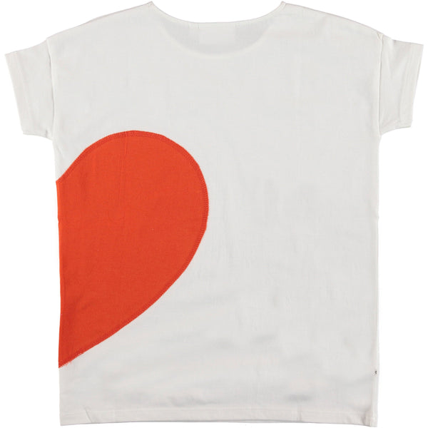 Molo kids red heart white short sleeve girls graphic t-shirt