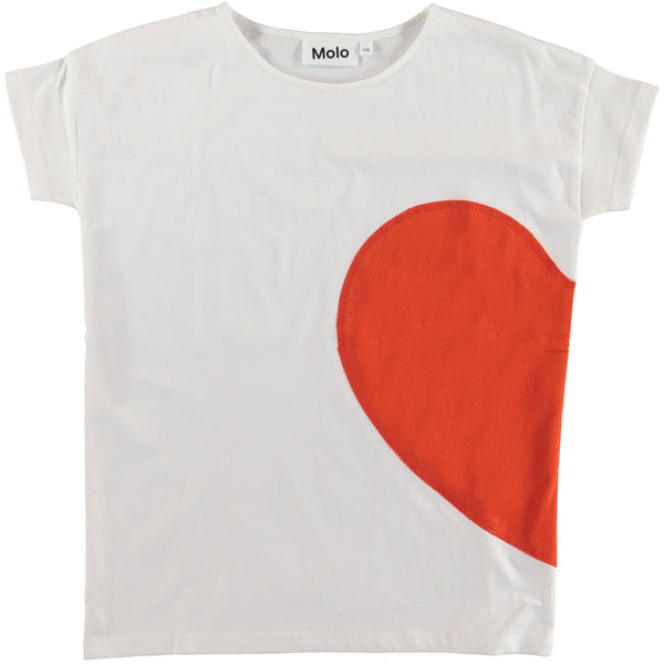 Molo kids white short sleeve with red heart girls t-shirt