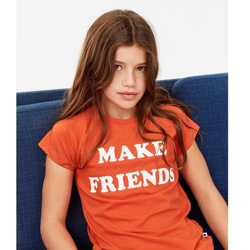 Molo kids red short sleeve make friends girls t-shirt