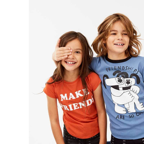 Molo Kids red and blue make friends t shirts for girls and boys unisex