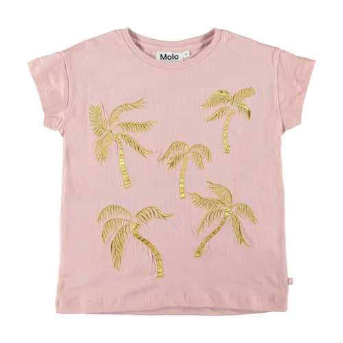 Molo kids pink short sleeve palm print girls tee