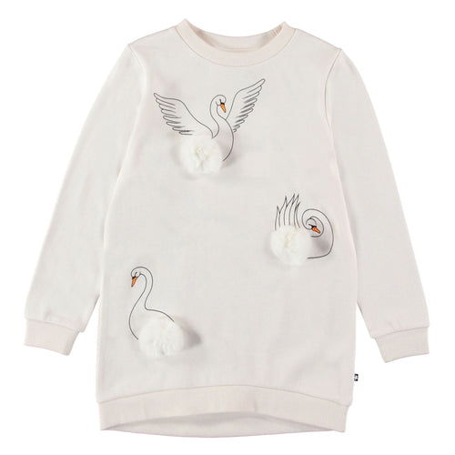 Molo white swan long sleeve girls dress